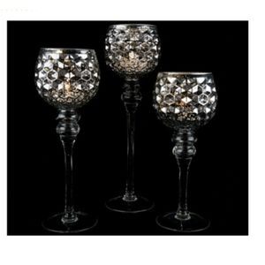 3 Illuminated Honeycomb Footed Goblets Silver